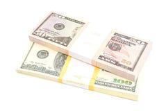 Due pacchetti delle banconote dei dollari Immagine Stock Libera da Diritti