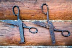 Due paia di vecchie forbici d'annata arrugginite sui precedenti di legno Immagine Stock Libera da Diritti