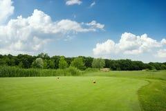 Due palle sul campo da golf verde, nessuno immagine stock libera da diritti