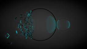 Due palle, uno di loro rotti, con le schegge Con luce blu 3d rendono illustrazione di stock