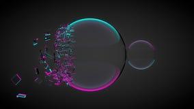 Due palle, uno di loro rotti, con le schegge Con luce porpora e blu 3d rendono illustrazione di stock