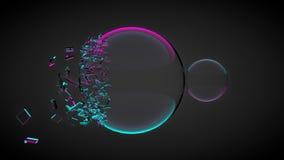 Due palle, uno di loro rotti, con le schegge Con luce porpora e blu 3d rendono illustrazione vettoriale