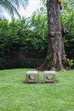 Due panchetti di pietra Fotografie Stock Libere da Diritti