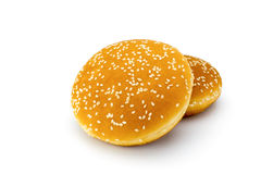 Due panini del sesamo su un bianco Immagini Stock Libere da Diritti