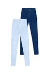 Due pantaloni scarni dei jeans dell'alta vita, isolati su fondo bianco Immagini Stock Libere da Diritti