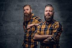 Due pantaloni a vita bassa barbuti brutali si sono vestiti in una camicia di plaid immagine stock