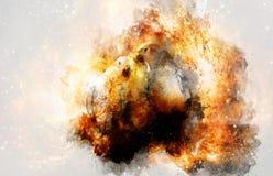 Due pappagalli nello spazio cosmico collage del computer illustrazione vettoriale