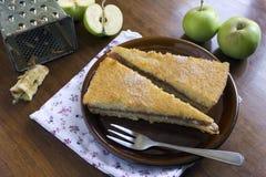Due parti del grafico a torta di mela Fotografia Stock