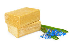 Due parti di sapone con i fiori blu Fotografia Stock Libera da Diritti