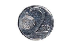 Due parti superiori La valuta della repubblica Ceca Macro foto di una moneta Ceco descrive una moneta della due-corona svedese Fotografia Stock Libera da Diritti