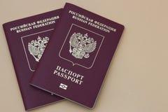Due passaporti russi su un fondo neutrale fotografie stock libere da diritti