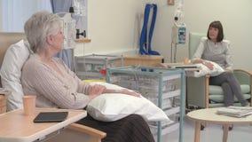 Due pazienti femminili che hanno trattamento chemioterapico video d archivio