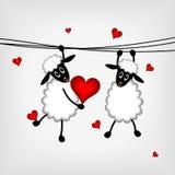Due pecore con i cuori rossi Fotografie Stock