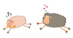Due pecore sorridenti del fumetto nell'amore Fotografia Stock Libera da Diritti
