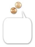 Due penny degli Stati Uniti con l'aerostato di pensiero del fumetto Fotografia Stock