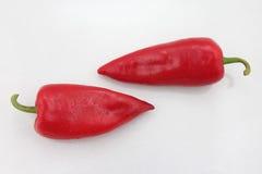 Due peperoni dolci rossi luminosi su un fondo bianco Fotografia Stock Libera da Diritti