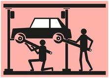 Due persone riparano l'automobile nel distributore di benzina illustrazione vettoriale