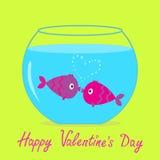 Due pesci bacianti nell'acquario. Carta felice di giorno di biglietti di S. Valentino. Fotografia Stock Libera da Diritti