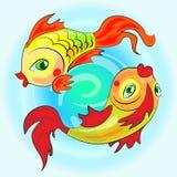 Due pesci dello zodiaco dell'oro Fotografia Stock Libera da Diritti