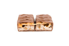 Due pezzi di barra di caramella del cioccolato Fotografia Stock