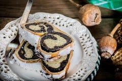 Due pezzi di dolce del poppie-seme su un piatto Immagine Stock Libera da Diritti