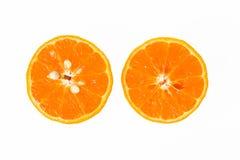 Due pezzi di a metà arancio Fotografia Stock Libera da Diritti