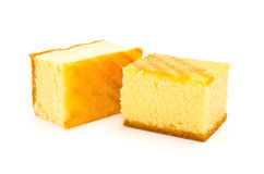 Due pezzi di pan di Spagna Immagine Stock