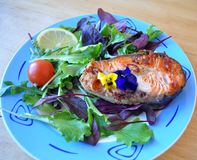 Due pezzi di pesce fresco con la salsa di soia e del limone fotografia stock