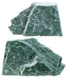 Due pezzi di pietra minerale della fillite isolata Immagini Stock Libere da Diritti