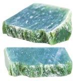 Due pezzi di pietra preziosa verde della nefrite isolata Fotografia Stock Libera da Diritti