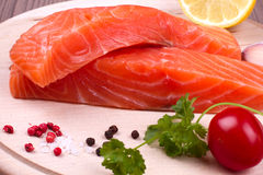 Due pezzi di salmone Fotografia Stock Libera da Diritti