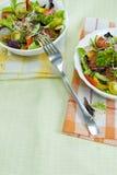 Due piatti con insalata e la forcella sulla tavola Fotografie Stock Libere da Diritti