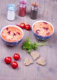 Due piatti con minestra Fotografia Stock