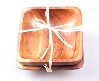 Due piatti di legno Fotografie Stock