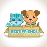 Due piccoli animali domestici nella scatola Illustrazione del cucciolo e del gattino Immagini Stock Libere da Diritti