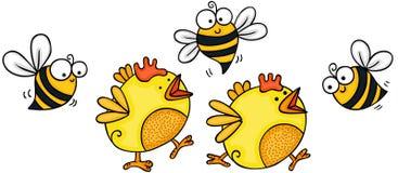 Due piccoli pulcini gialli con le api illustrazione di stock