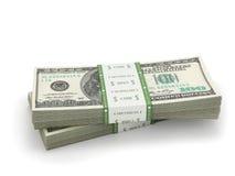 Due pile di cento banconote in dollari di carta Immagini Stock