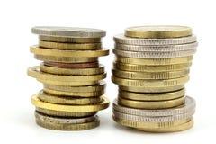 Due pile di monete immagini stock libere da diritti