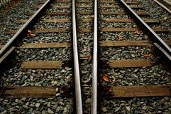 Due piste del treno in autunno Immagini Stock Libere da Diritti