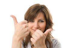 Due pollici in su. Giovane sorriso della donna di affari. fotografie stock libere da diritti
