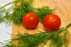 Due pomodori di ciliegia Fotografie Stock