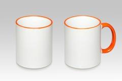 Due posizioni di una tazza bianca fotografie stock libere da diritti
