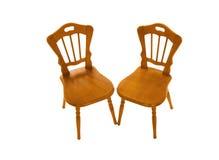 Due presidenze di legno isolate su un bianco Fotografia Stock