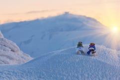 Due pupazzi di neve, inverno Fotografia Stock Libera da Diritti