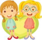 Due ragazze che cantano illustrazione di stock