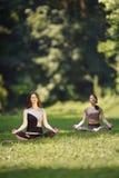 Due ragazze che fanno gli esercizi di yoga in parco Immagine Stock Libera da Diritti