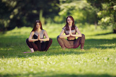 Due ragazze che fanno gli esercizi di yoga in parco Fotografia Stock