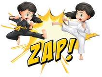 Due ragazze che fanno le arti marziali royalty illustrazione gratis