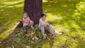 Due ragazze che si siedono nel parco e che mangiano granato video d archivio