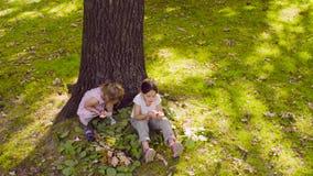 Due ragazze che si siedono nel parco e che mangiano granato archivi video